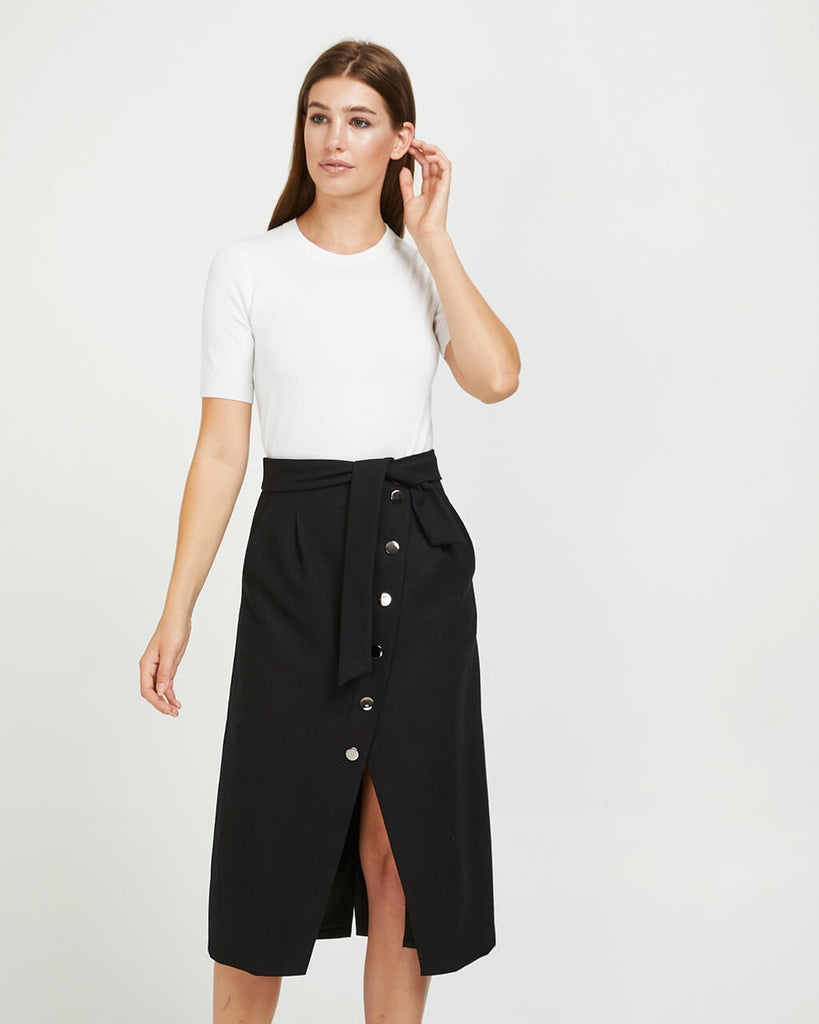 MIDI WOOL BUTTON SKIRT - BLACK