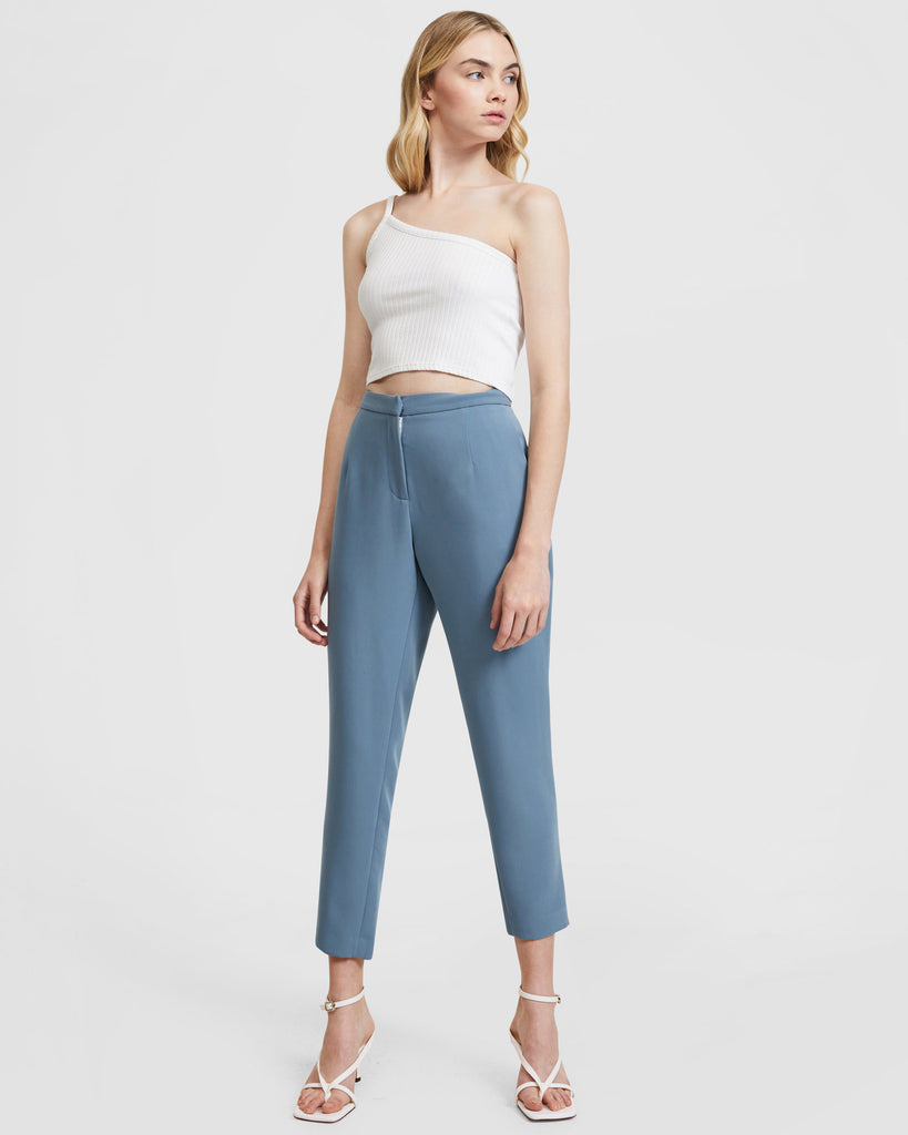 Belted Suit Set - Slim Leg Trousers - Steel Blue