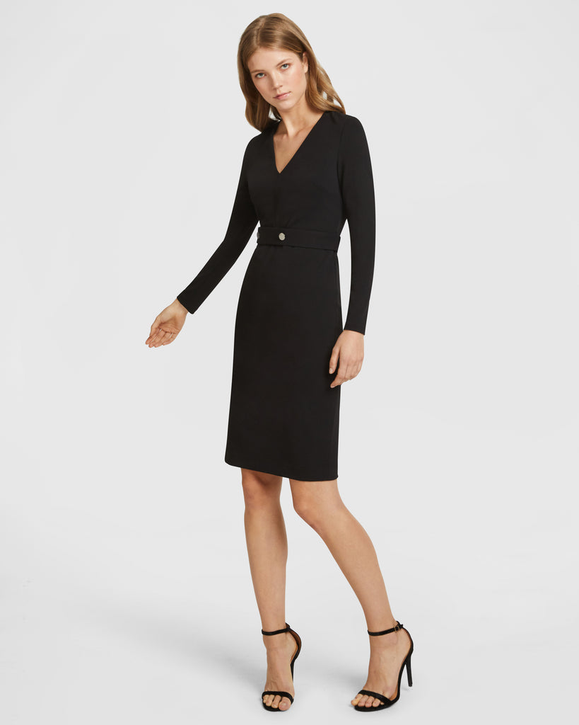 Long Sleeve Snap Belt V-Neck Dress - Black