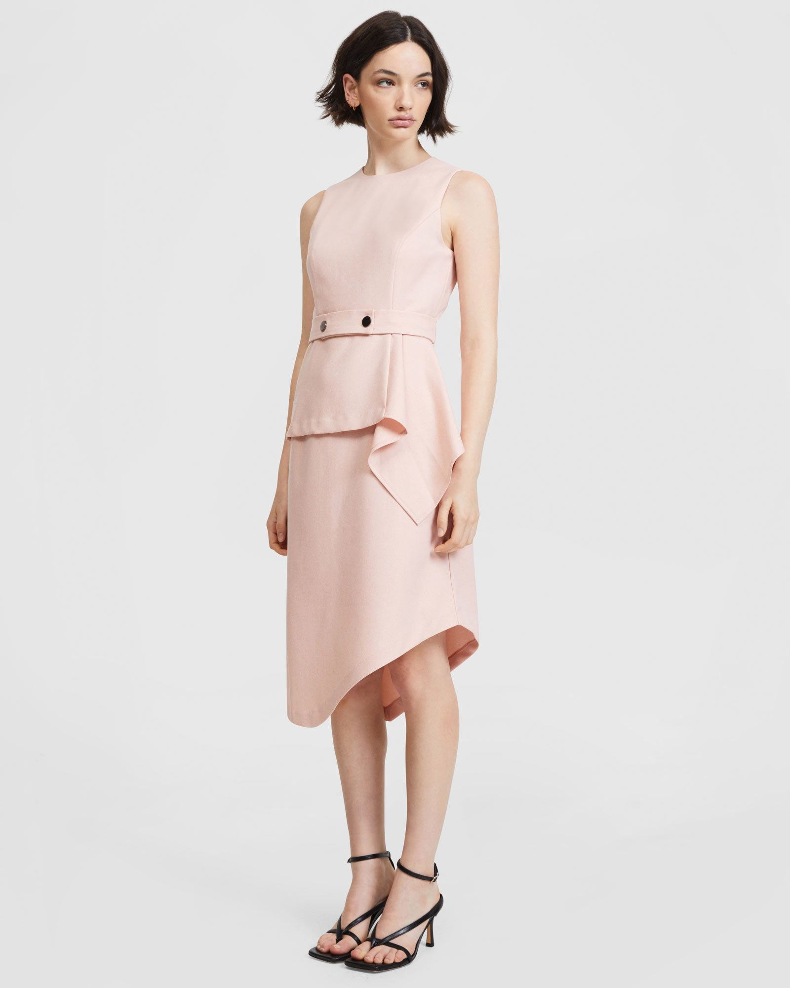 Layered Snap Belt Dress - Pastel Coral