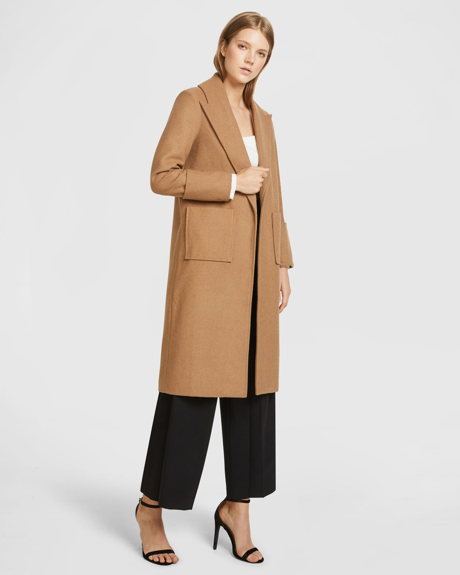 Wool Peak Lapel Coat - Camel