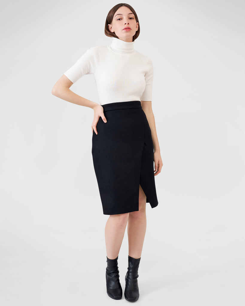 Wool Crossover Skirt - Black