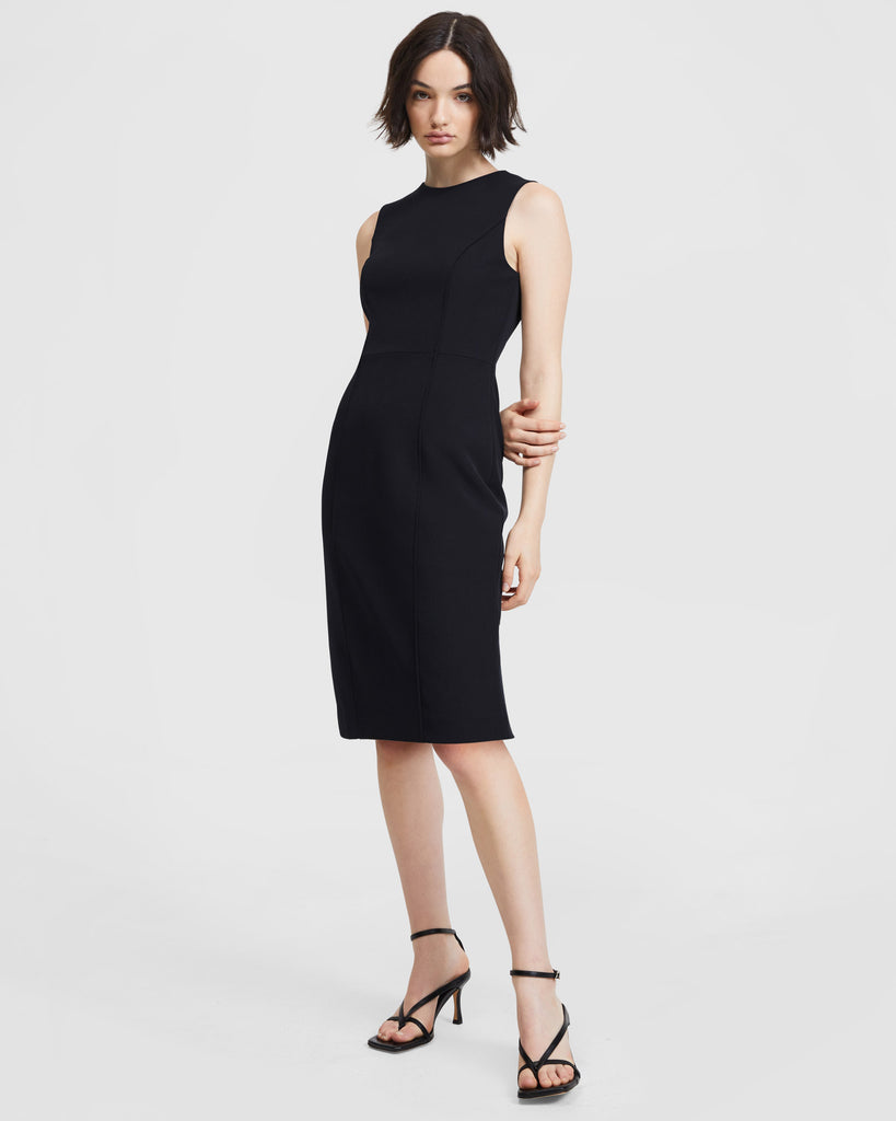 Curved Seam Dress - Black