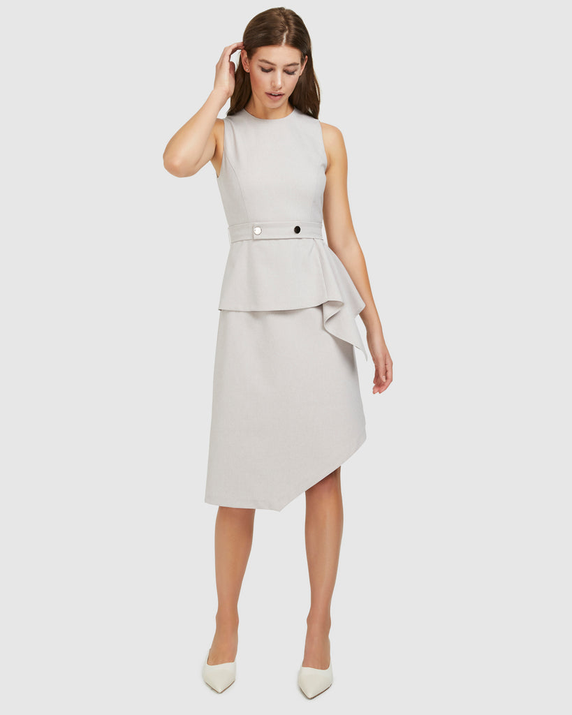 Layered Snap Belt Dress - Stone