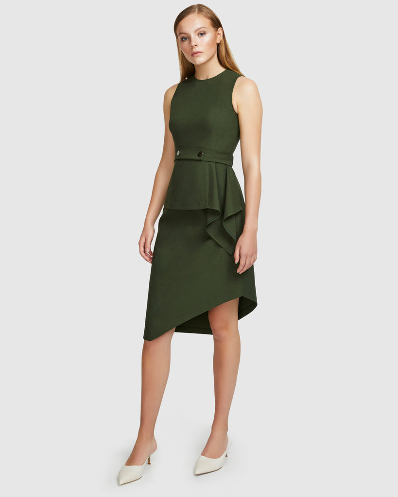 Layered Snap Belt Dress - Moss