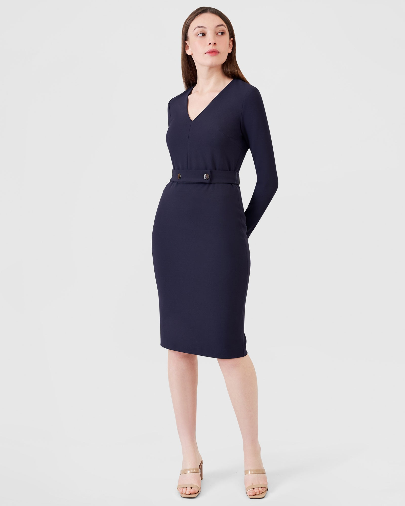 Long Sleeve Snap Belt V-Neck Dress - Indigo