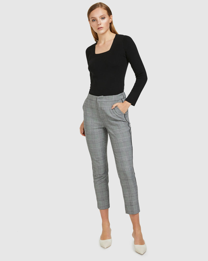 Stretch Waist Pants - Grey Check