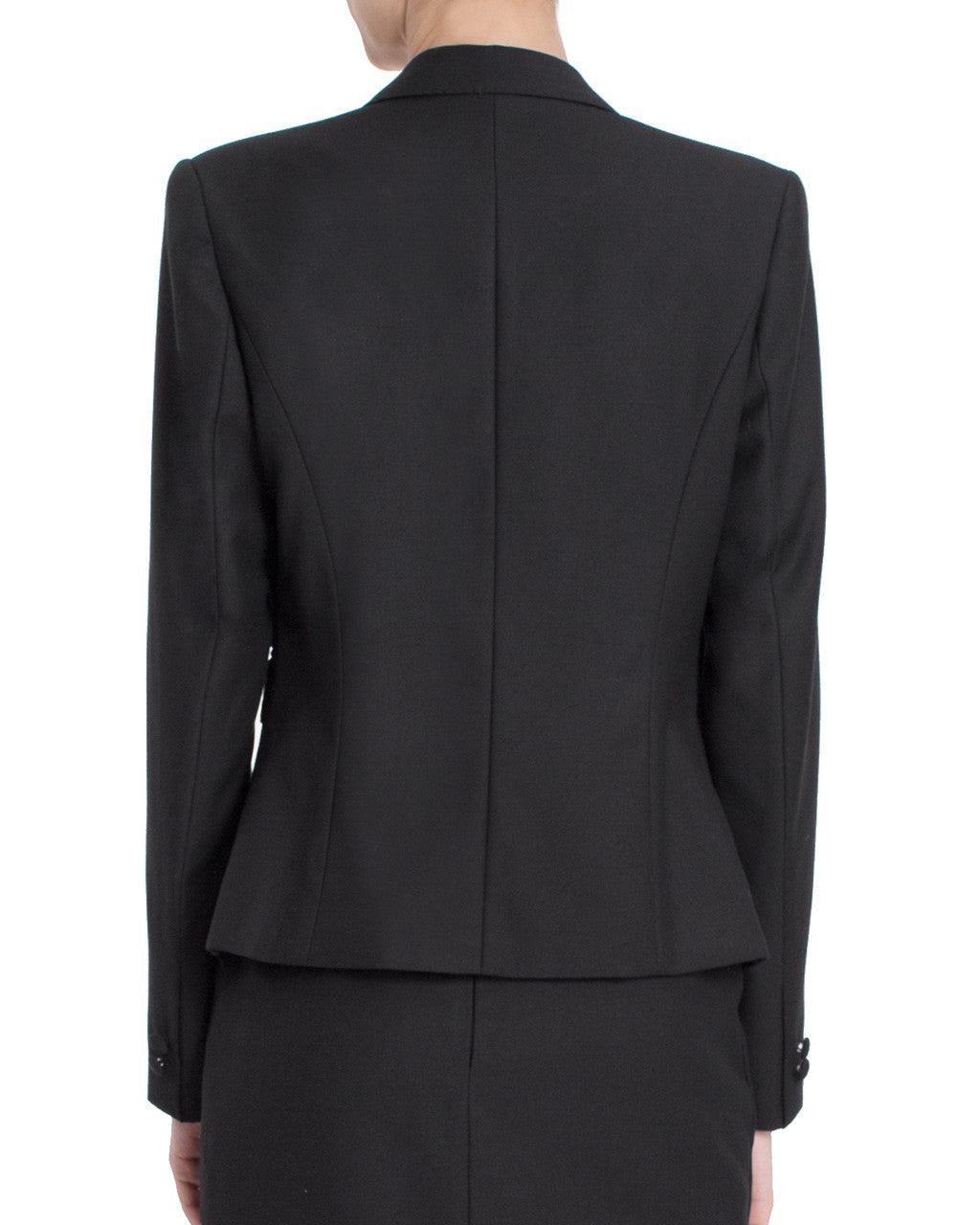 Detailed Three Button Blazer - Black