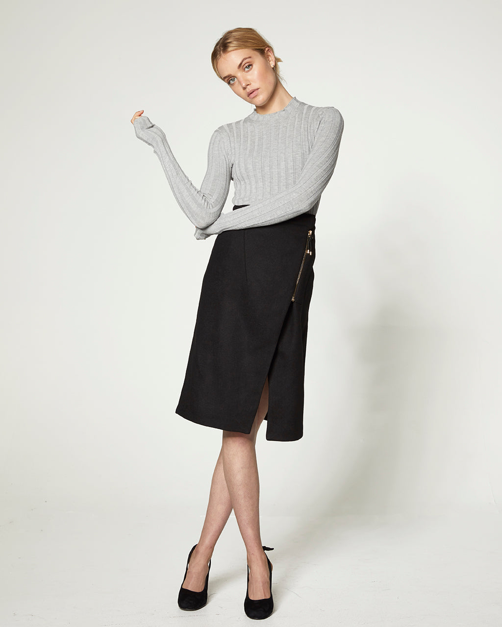 Midi Wrap Wool Skirt - Black