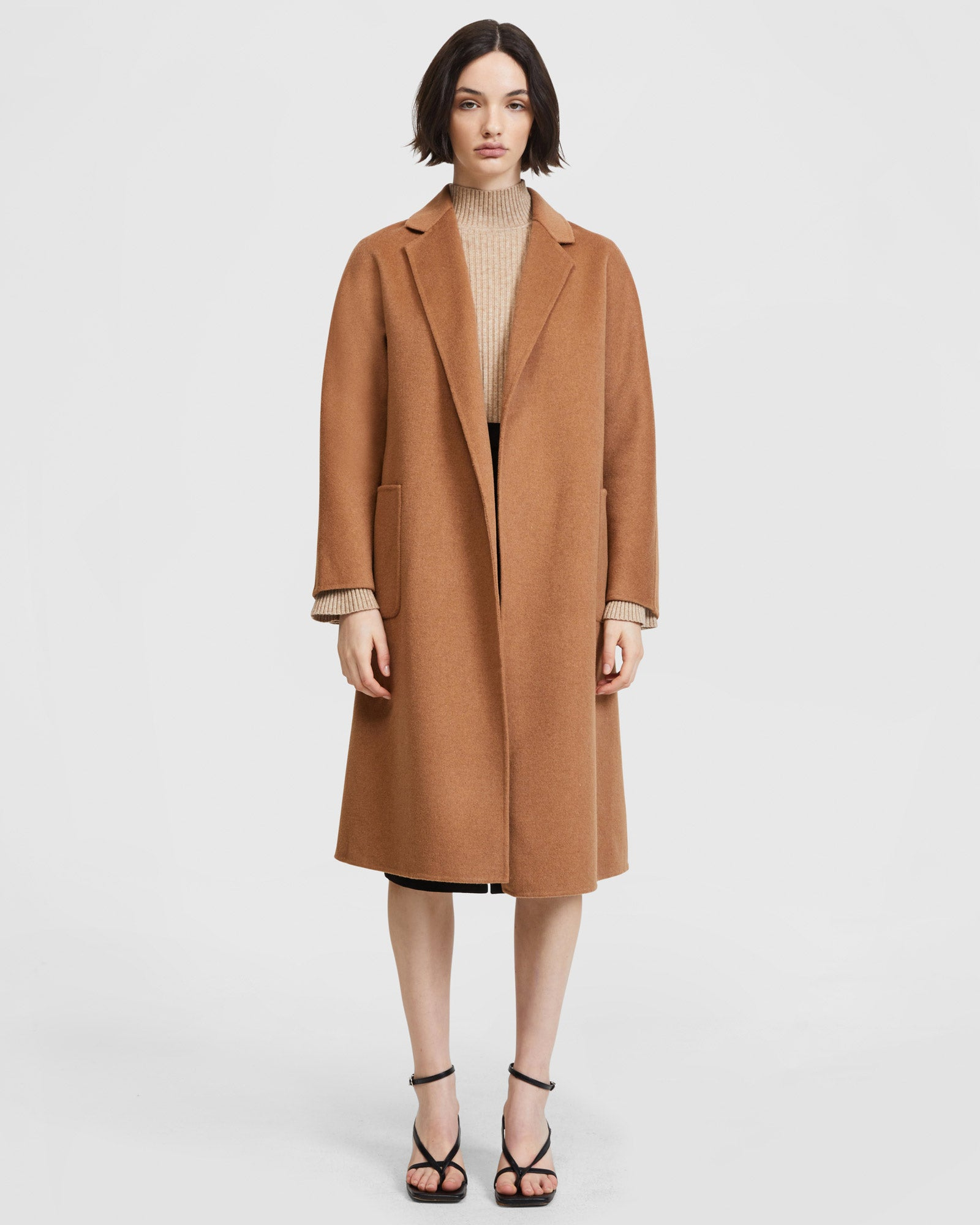 Double Face Belted Coat - Caramel