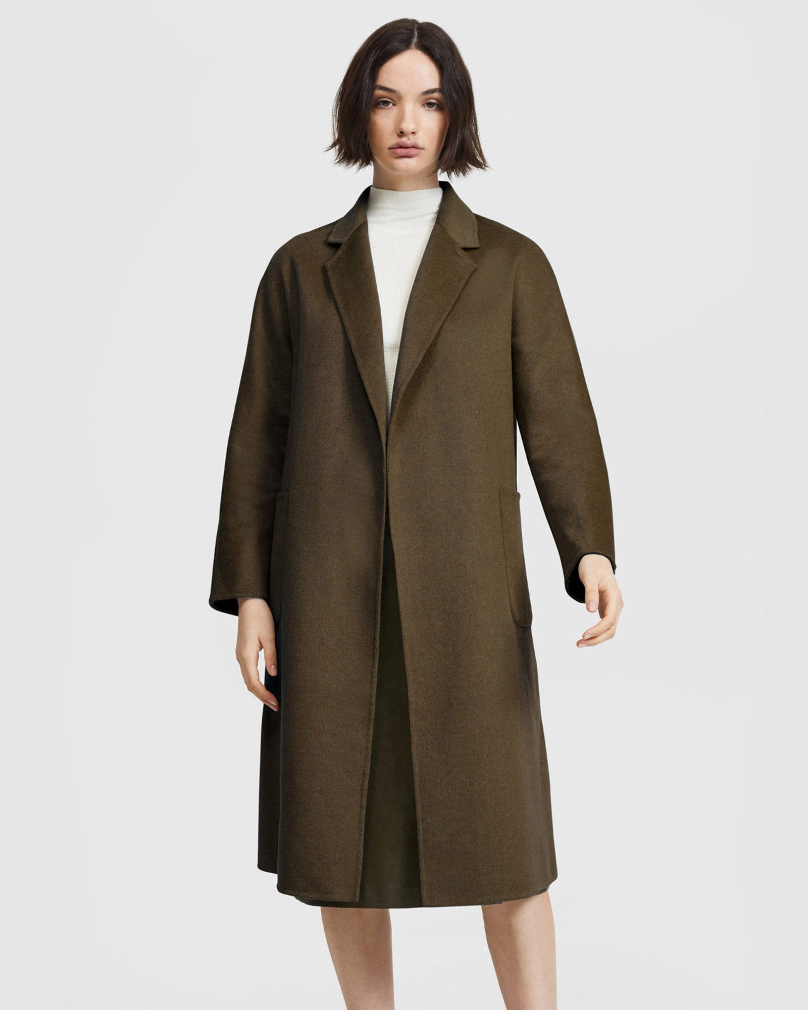 Double Face Belted Coat - Khaki