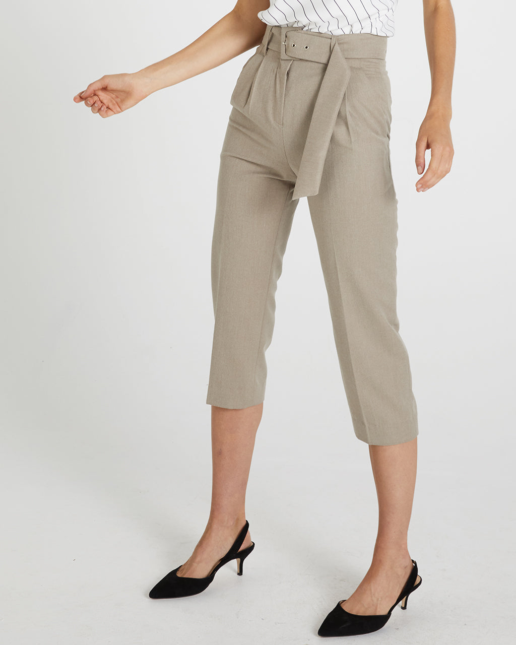BELTED WOOL PANTS - BEIGE