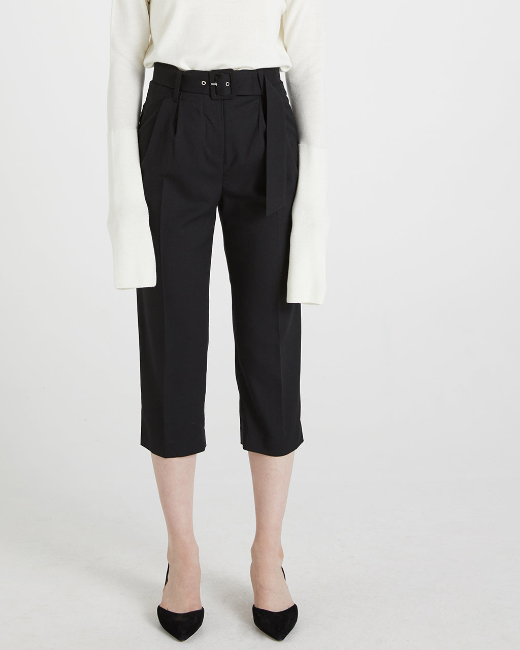 Belted Cropped Pants - Black