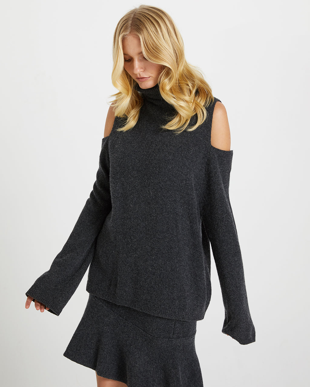 COLD SHOULDER KNIT SET - CHARCOAL