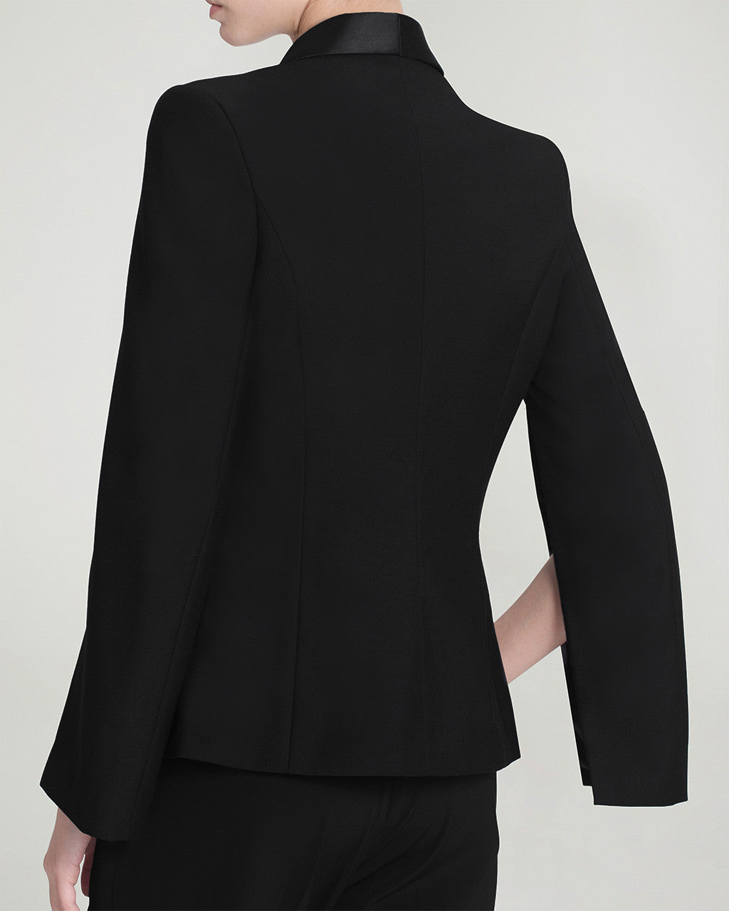 BLAZER CAPE WITH CONTRAST SATIN LAPEL - BLACK