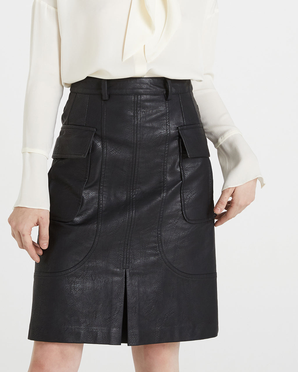 MIDI VEGAN LEATHER SKIRT