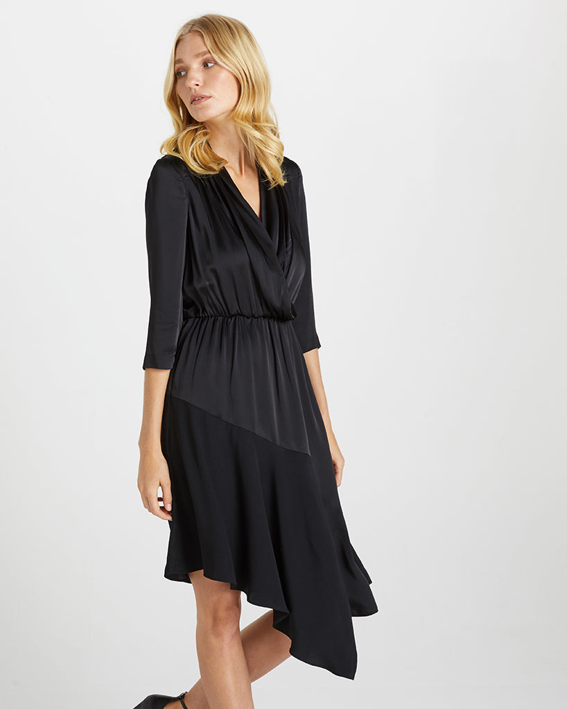 ASYMMETRICAL SATIN SHIRT DRESS