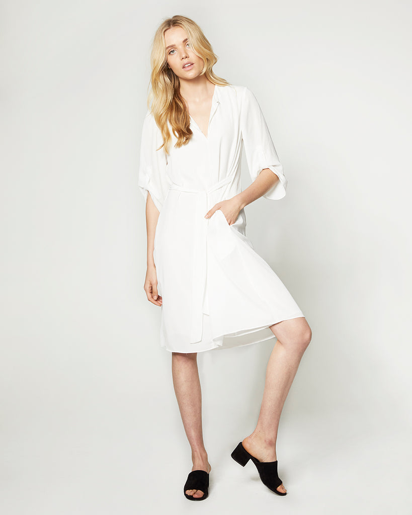 MID SLEEVE BELTED DRESS W/ ADJUSTABLE SLEEVES