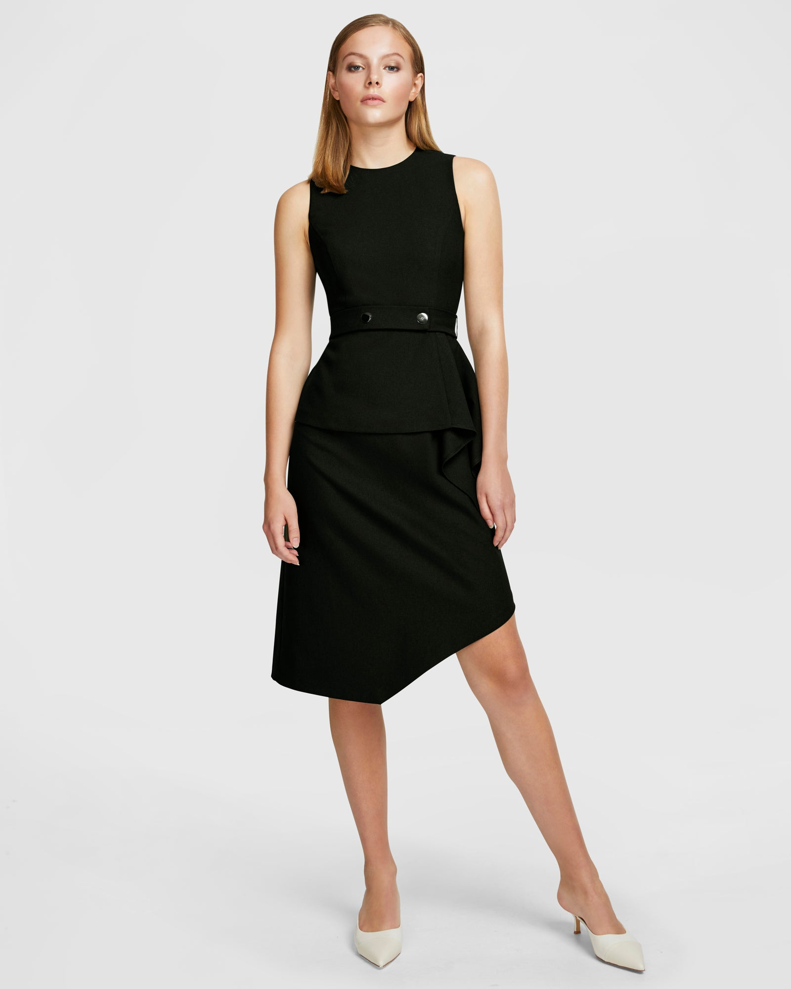 Layered Snap Belt Dress - Black
