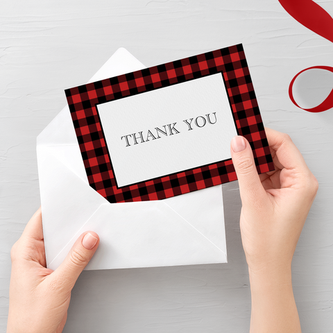 Buffalo Plaid Thank You Card Printable