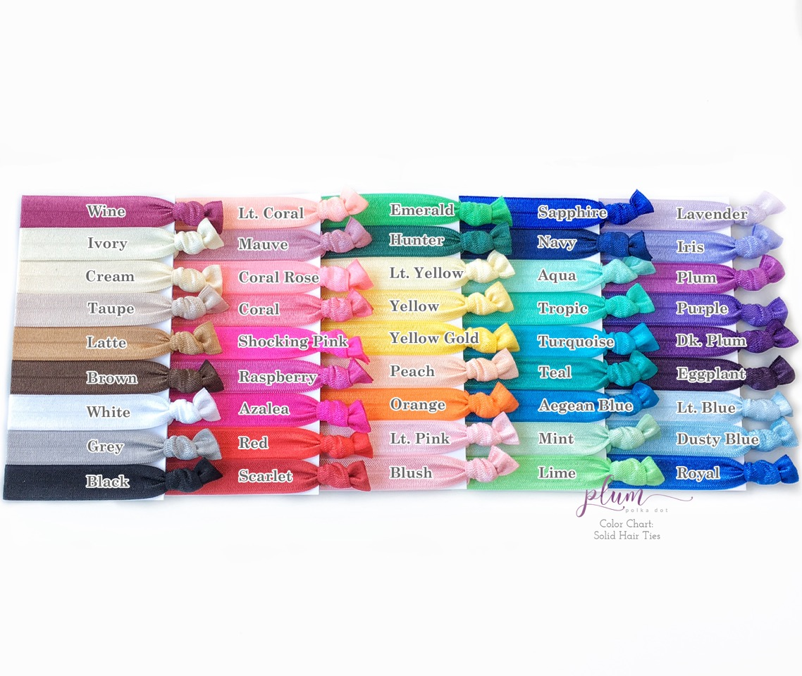 Solid Color Creaseless Hair Ties - Set of 25 - @PlumPolkaDot