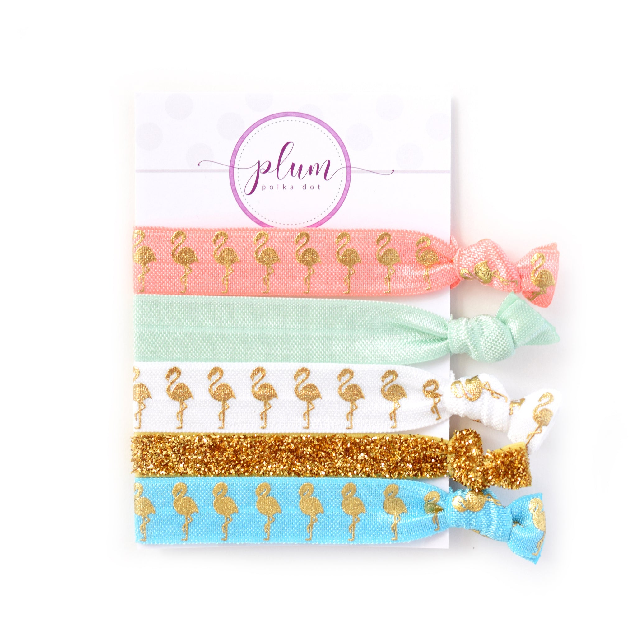 Flamingo Hair Ties - Set of 5 - @PlumPolkaDot
