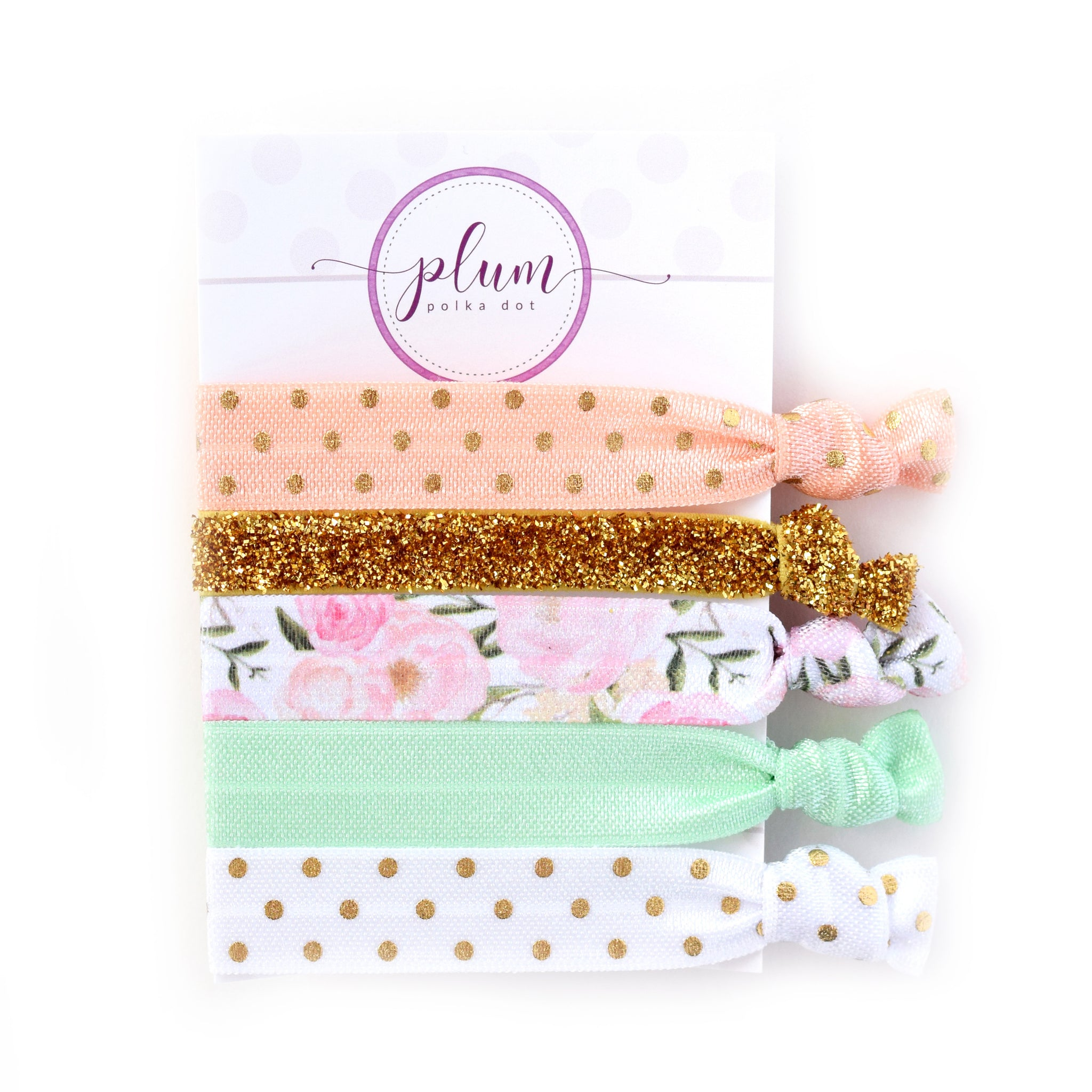 Floral Hair Ties - Set of 5 - @PlumPolkaDot