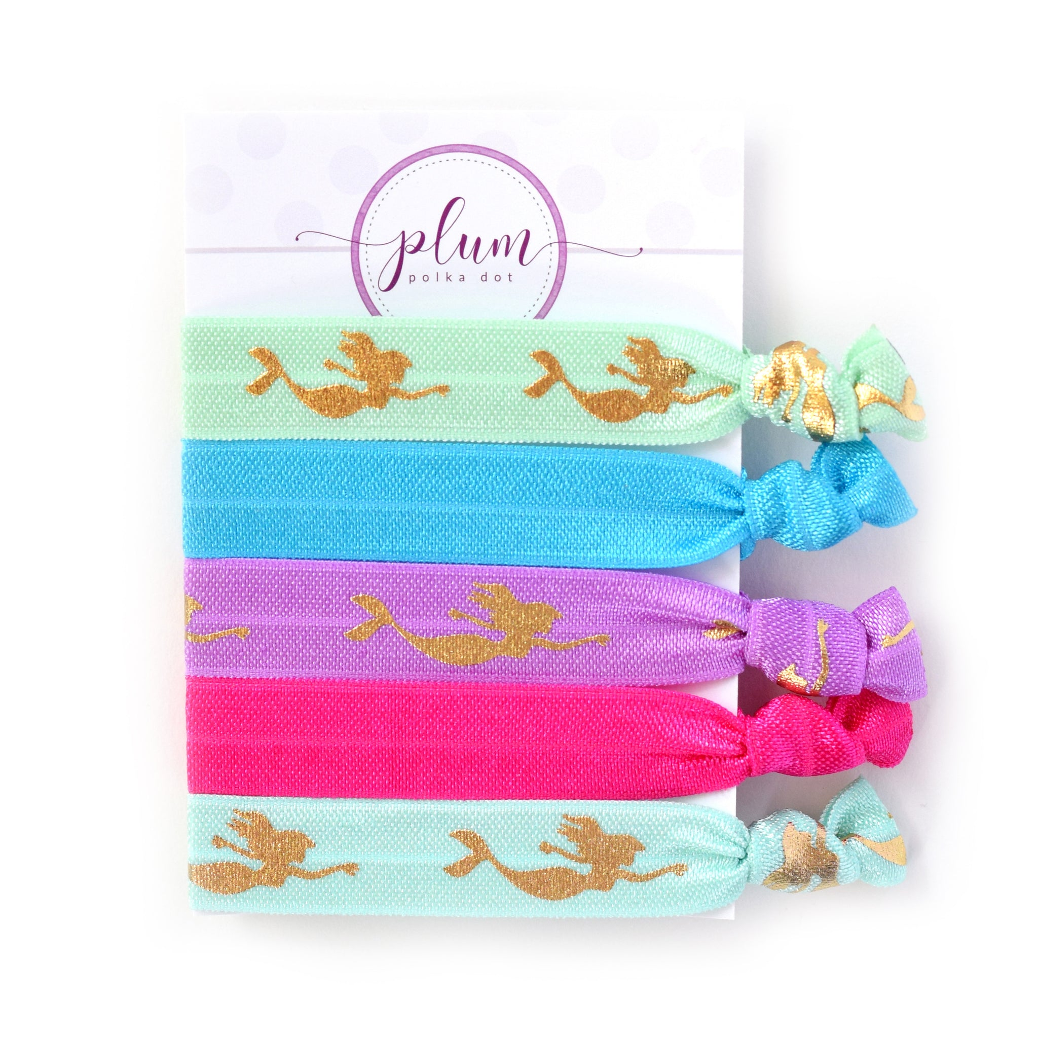 Mermaid Hair Ties - Set of 5 - @PlumPolkaDot