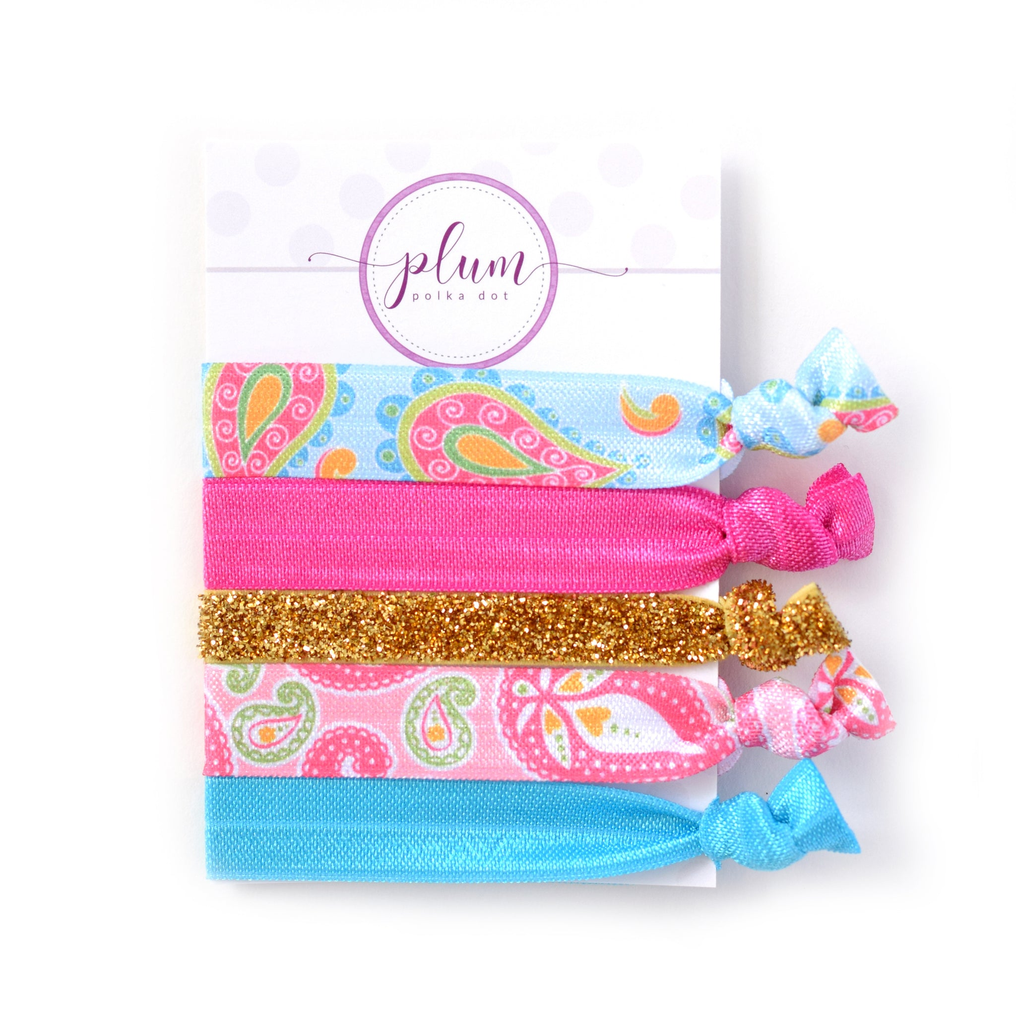 Paisley Hair Ties - Set of 5 - @PlumPolkaDot