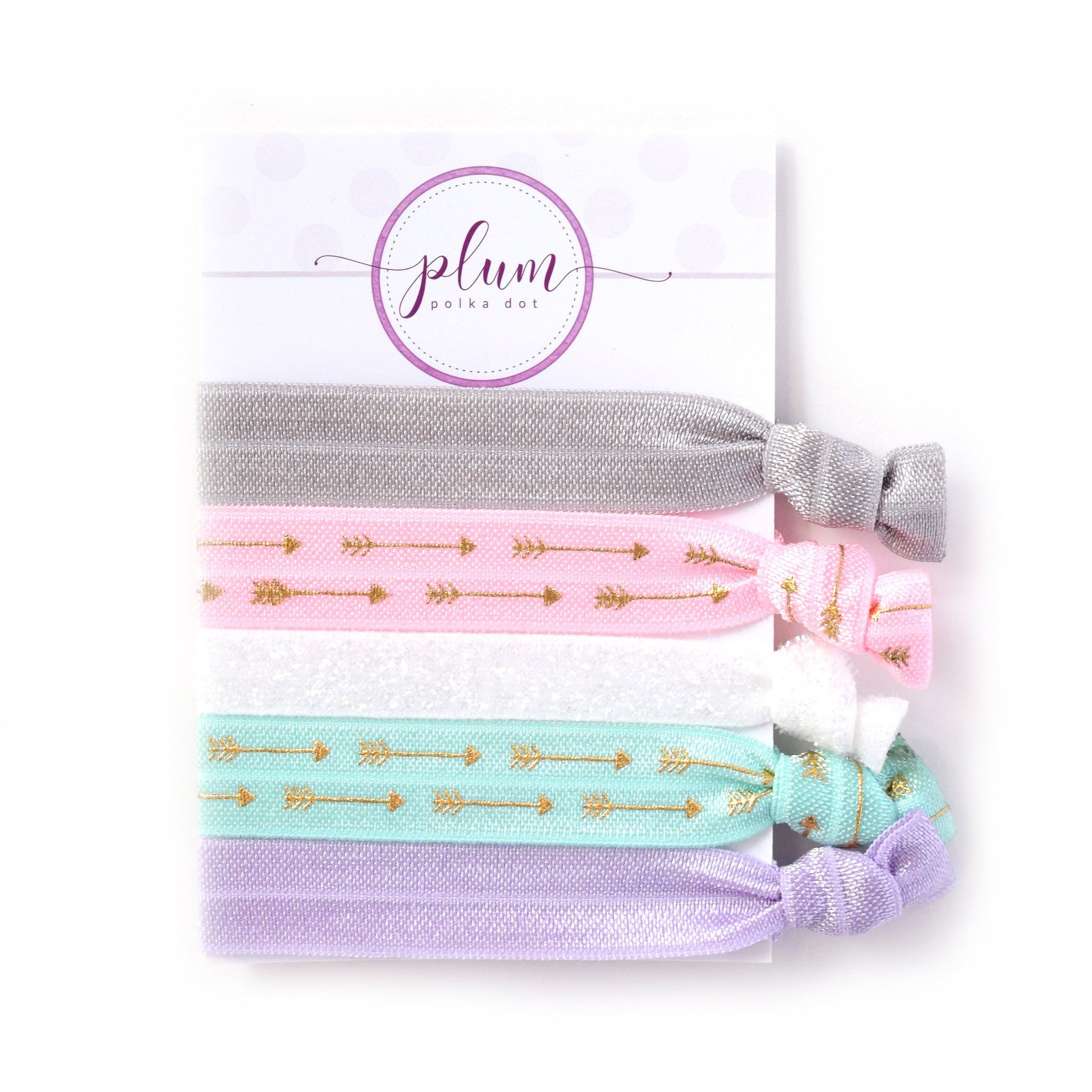 Pastel Hair Ties with Gold Arrows - Set of 5 - @PlumPolkaDot
