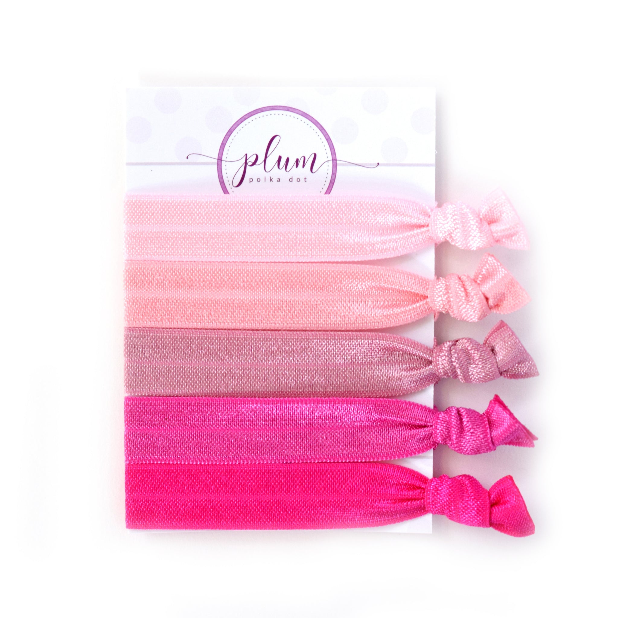 Pink Ombre Hair Ties - Set of 5 - @PlumPolkaDot