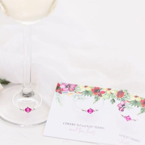 Tropical Wedding Favors - Bridal Shower - Bachelorette - Stemware Charms - @PlumPolkaDot