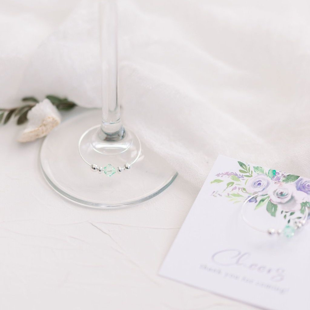 Purple Floral Wedding Favors - Bridal Shower - Bachelorette - Stemware Charms - @PlumPolkaDot