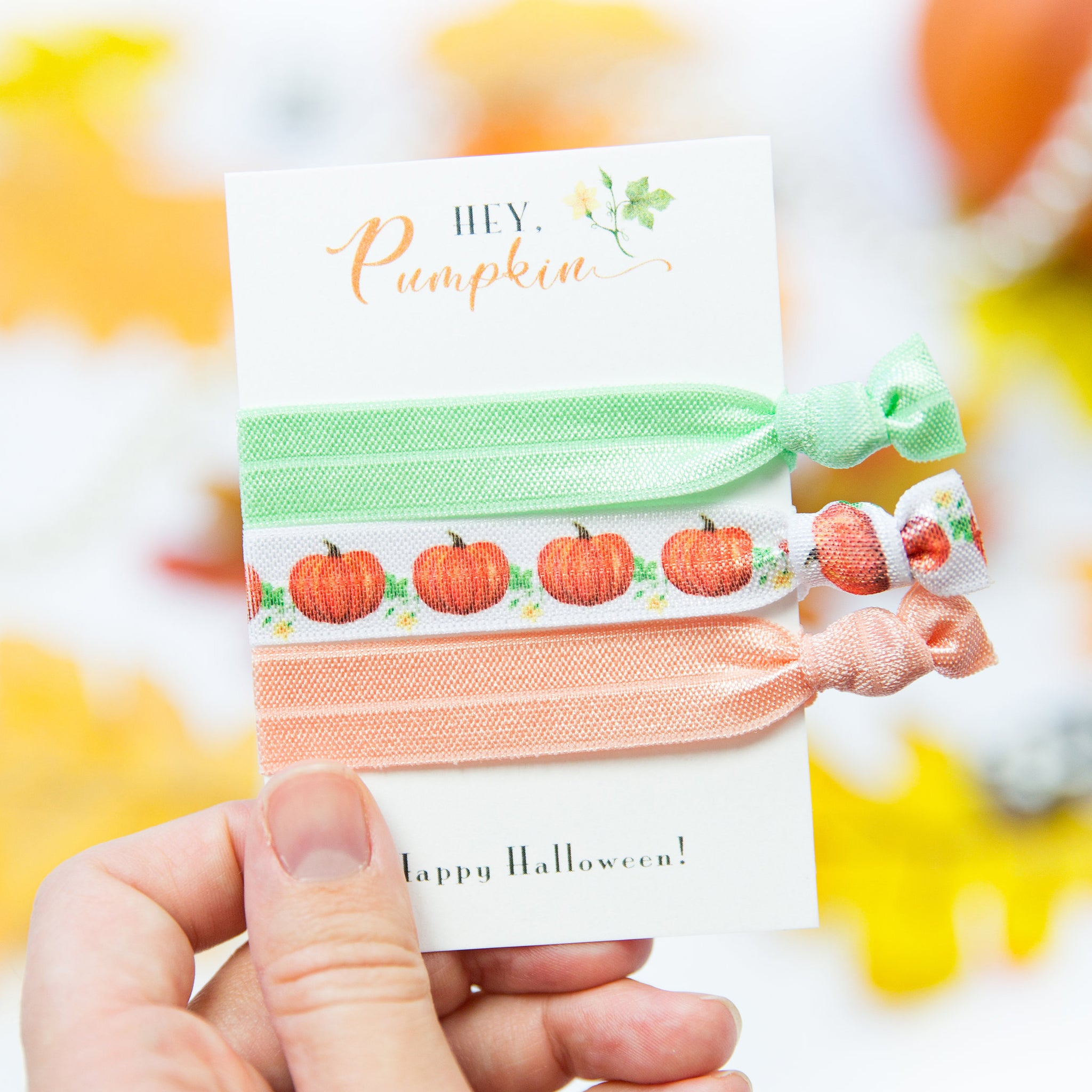 Pumpkin Party Favors - Halloween Hair Ties - @PlumPolkaDot