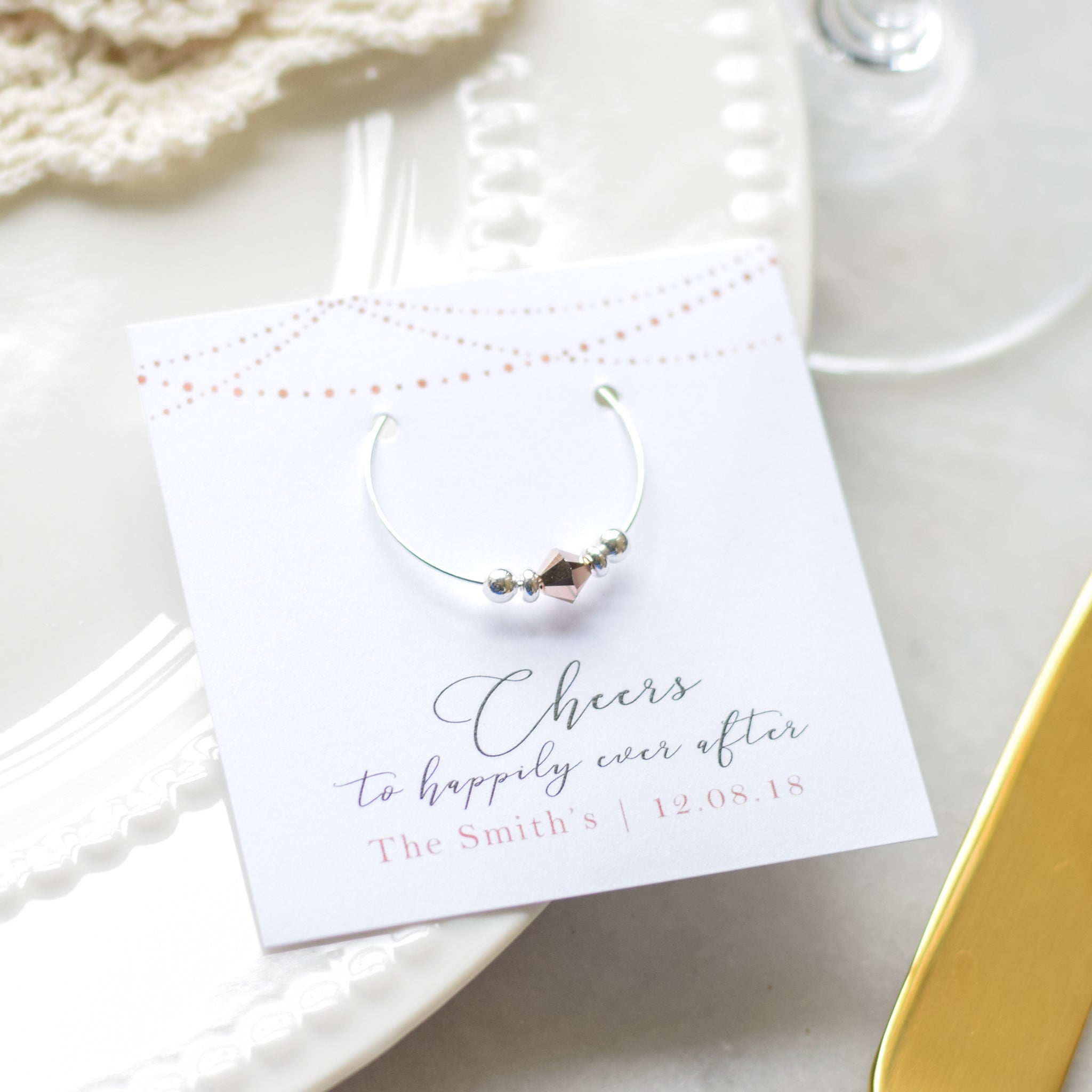 Wedding Gift Favors in Rose Gold - Stemware Charms - @PlumPolkaDot
