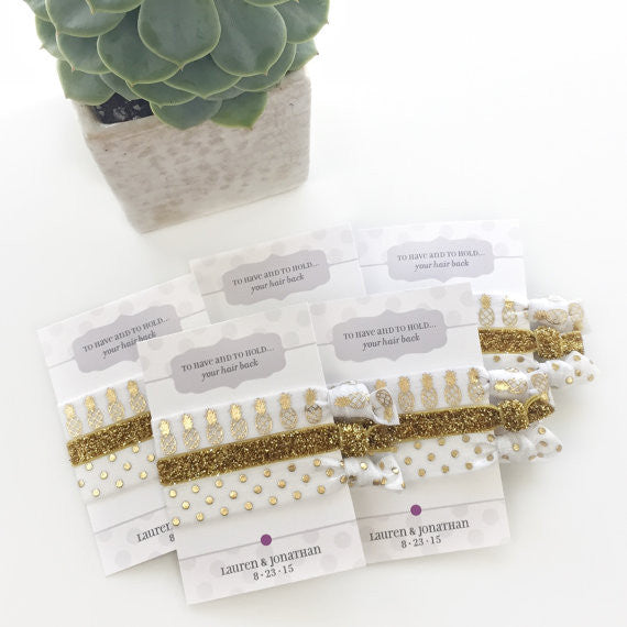 Pineapple & Polka Dots Hair Tie Party Favors - Bachelorette Parties - @PlumPolkaDot