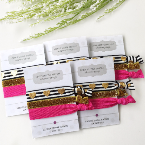 Bridal Shower Gift - Black & Pink Hair Tie Favors - Shower Favours - Gift for Women - @PlumPolkaDot