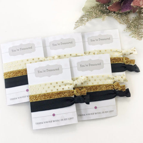 Black, Gold Glitter & Cream Hair Tie Favors - Friendship Bracelets - Gift for Her - @PlumPolkaDot