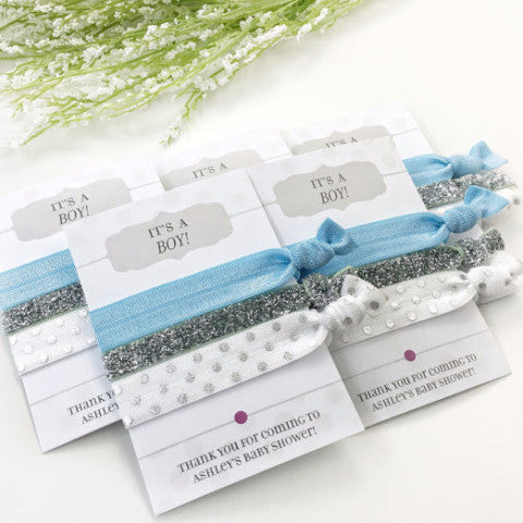 Dusty Blue & Silver Hair Tie Favors - It's A Boy - Boy Baby Shower - @PlumPolkaDot