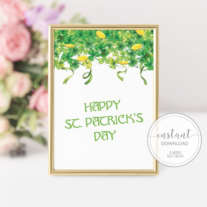 Happy St Patricks Day Sign Printable, St Paddys Day Decor, INSTANT DOWNLOAD - SP100