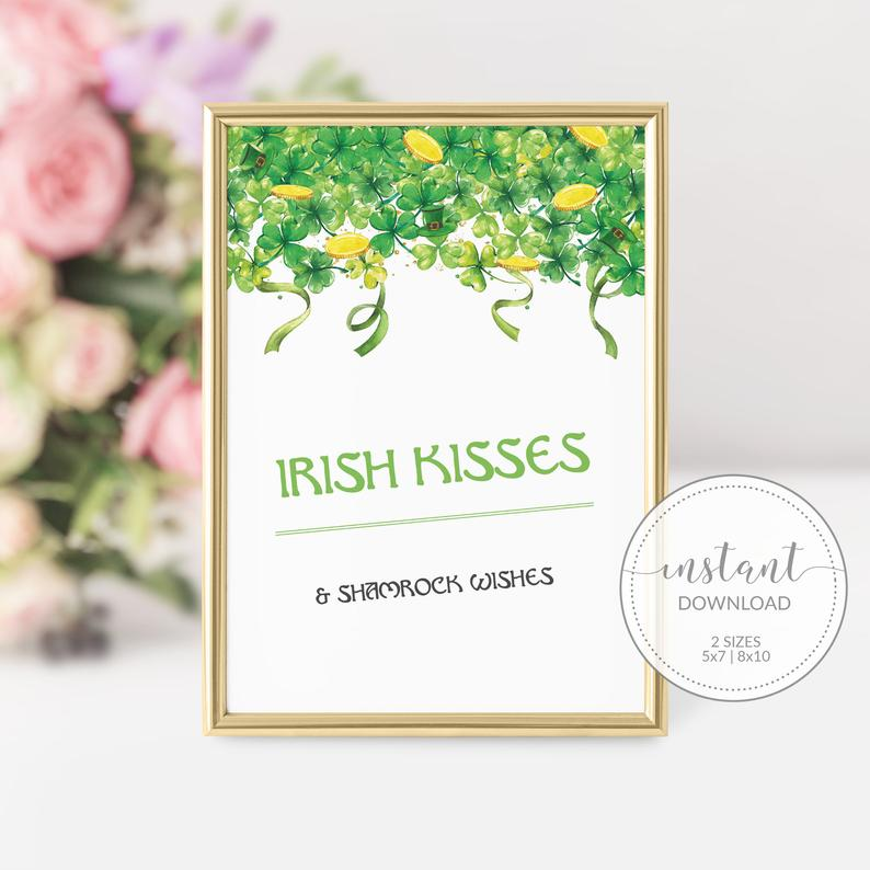 Irish Kisses and Shamrock Wishes St Patricks Day Sign Printable, St Patricks Day Decorations, St Patricks Day Party, DIGITAL DOWNLOAD SP100