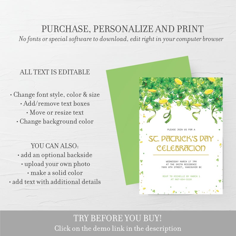 Printable St Patricks Day Party Invitation Template, St Patrick's Day Invite, St Patricks Day Invitation, Editable DIGITAL DOWNLOAD - SP100