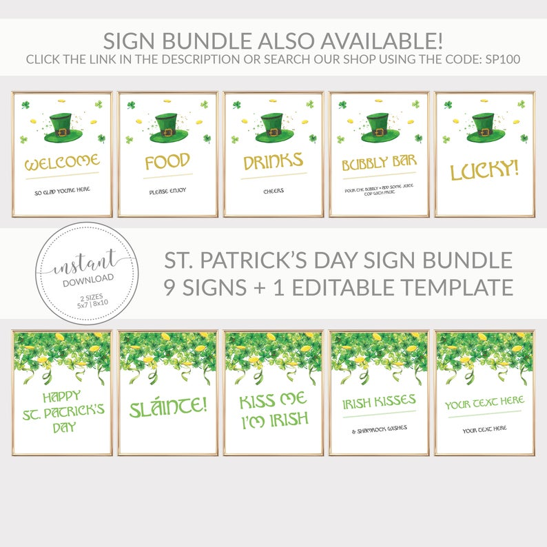 Virtual St Patricks Day Party Invitation Template, Printable St Patrick's Day Invite, Editable DIGITAL DOWNLOAD - SP100