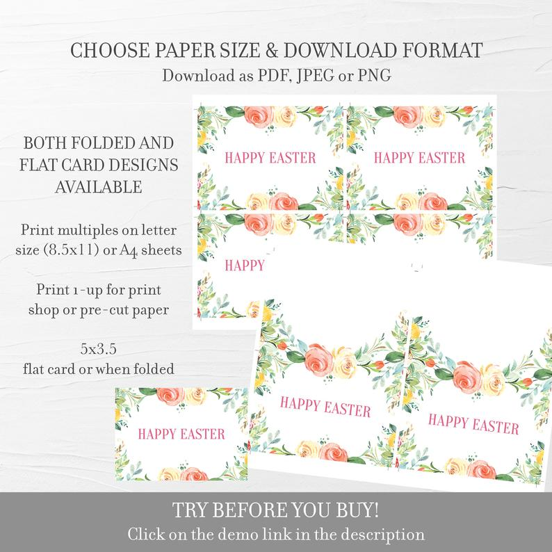Easter Greeting Card Template, Printable Easter Note Card, Folded and Flat Cards 5X3.5, Editable INSTANT DOWNLOAD - B100