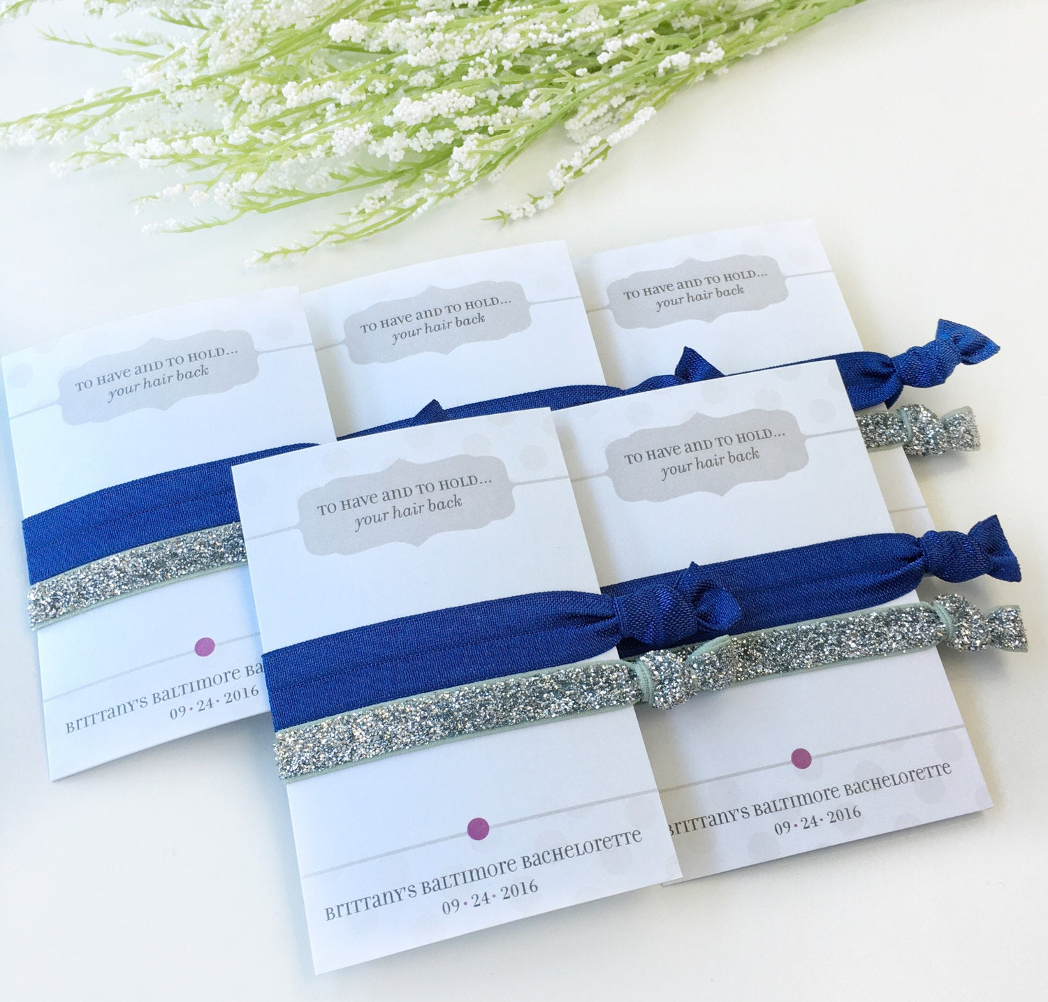 Navy and Silver Bachelorette Party Favors - @PlumPolkaDot