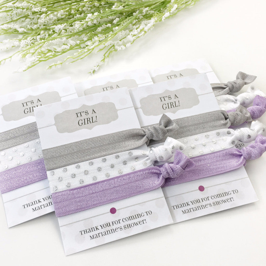 It's A Girl - Grey & Purple Hair Ties - Party Favors - @PlumPolkaDot
