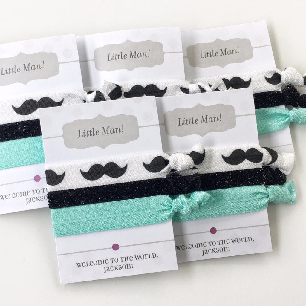 Mustache Party - Black & Silver Mustache Hair Tie Party Favors - Baby Shower Gift - @PlumPolkaDot