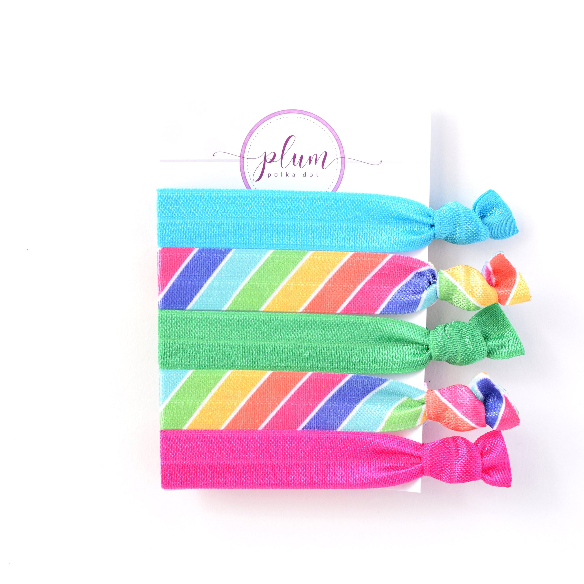 Rainbow Hair Tie Bracelet - Set of 5 - @PlumPolkaDot
