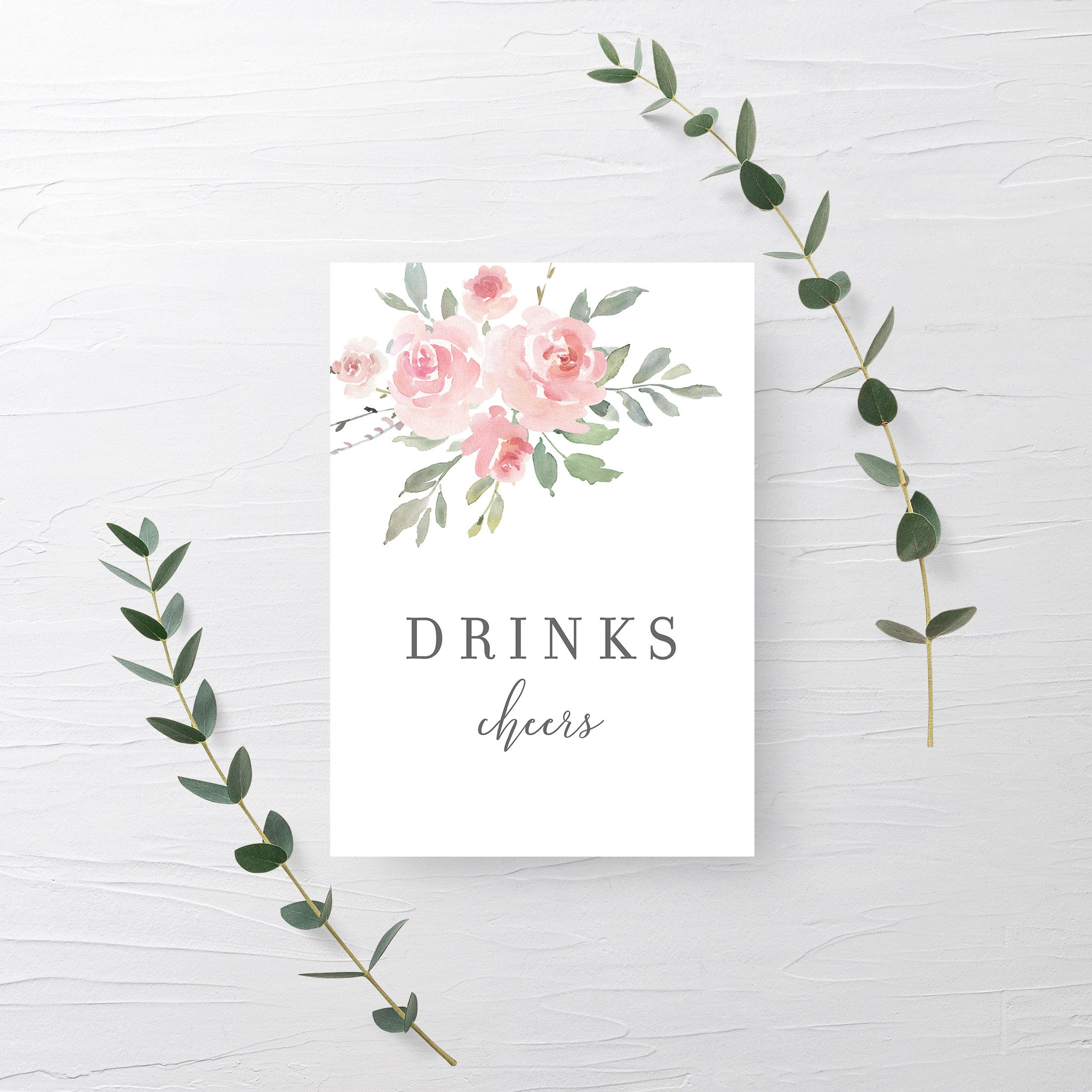 Drinks Sign Printable, Floral Bridal Shower Decorations, Pink Baby Shower Supplies, DIGITAL DOWNLOAD - FR100 - @PlumPolkaDot