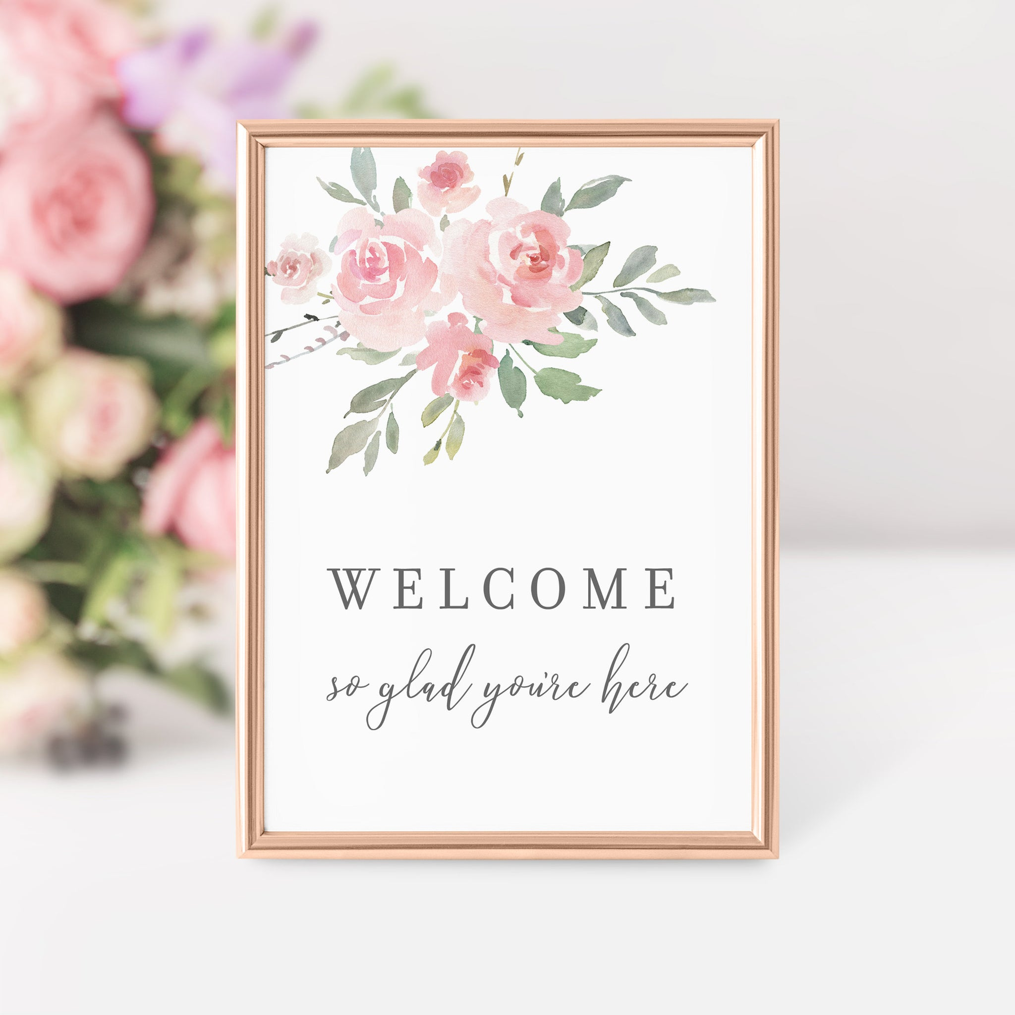 Welcome Sign Printable, Pink Bridal Shower Decorations, Birthday Party Welcome Sign, Pink Baby Shower Decor, DIGITAL DOWNLOAD - FR100 - @PlumPolkaDot